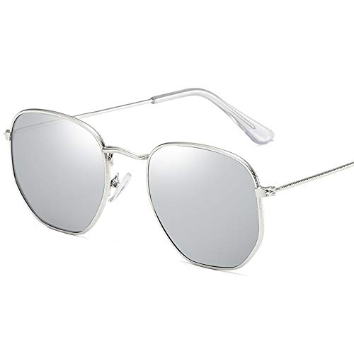 CFLFDC Sonnenbrillen Retro Small Frame Sunglasses-uv400 Sonnenbrille Dame Und Herrenbrille Weibliche Myopische Sonnenbrille Flut Silberner Rahmen Mercury Plate Square