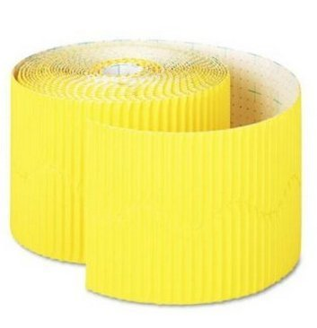 Pacon Corporation Products - Scalloped Bordette Decorative Border, 2-1/4x50', Yellow - Sold as 1 RL - Decorative borders create the appearance of a framed edge to dress up any bulletin or display board. Made from fadeless art paper to keep projects looking fresh for a long time. Corrugated on one side. by Pacon (Fadeless Board Bulletin Papier)
