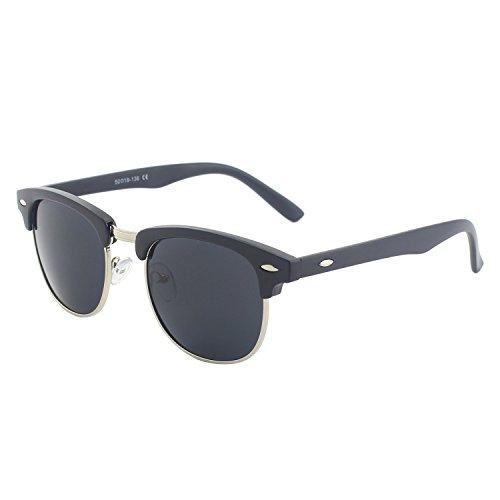CGID MJ56 Gafas de Sol Clubmaster Wayfarer Retro Mujer Hombre,Mate Neg