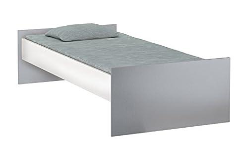 Jugendbett Einzelbett Bett Liege Gästebett Bettgestell Bettrahmen - 90x200cm - Weiß/Graphit (Günstige Jugendbetten)