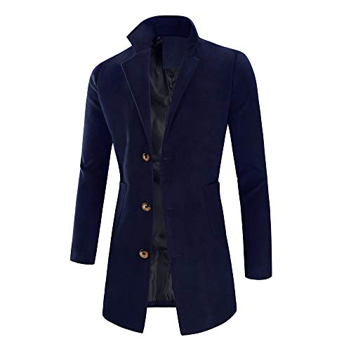 7a6da251afab5a ALIKEEY Herren Parka Jacke Warm Winter Trench Long Outwear Knopf Smart Mantel  Mäntel Filz Marine.