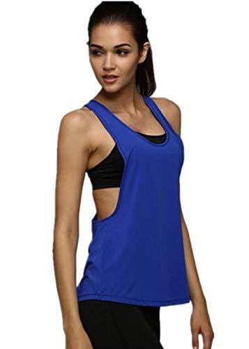 TUDUZ Damen Funktions Sport Tanktop Gym Ringerrücken Miedertop Yoga Fittnesstraining Tops (S, Blau) -