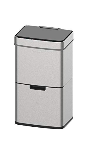 Homra Mülltrennsysteme mit Sensor - 3 Fach Mülleimer - 72 Liter (2x12 + 1x48 L) Design Treteimer aus Edelstahl