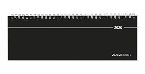 Tisch-Querkalender schwarz 2020 - Bürokalender - Tischkalender (28,5 x 10) - 1 Woche 2 Seiten - Ringbindung - Terminplaner