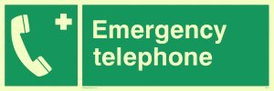 Viking Schilder sv411-l31-p Notfall Telefon Zeichen, halbstarr nachleuchtend Kunststoff, 100mm H x 300mm W (Notfall-telefon Viking)