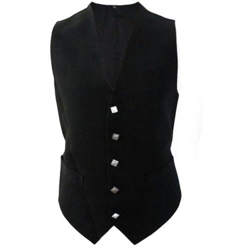 Tartanista - Gilet pour homme - tartan irlandais - noir uni - 112 cm