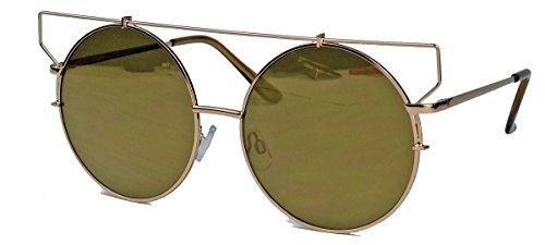 XL Damen Sonnenbrille große runde Retro Brille Metallsteg Flat Lens CM22 (Gold Mirror)