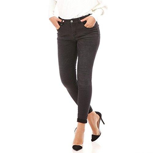 La Modeuse - Jeans femme coupe skinny effet délavé GRIS FONCE