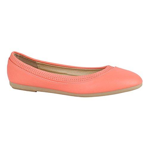 Klassische Damen Ballerinas Flats Slipper Flache Übergrößen Spitze Metallic Glitzer Schuhe 142222 Coral Avelar 39 Flandell