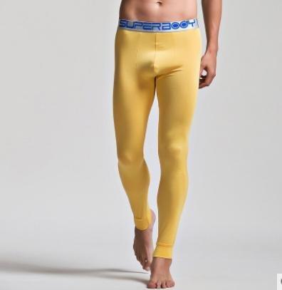 CU@EY Mutandoni di uomini sottili pantaloni termici di famiglie modali leggings pantaloni Yellow