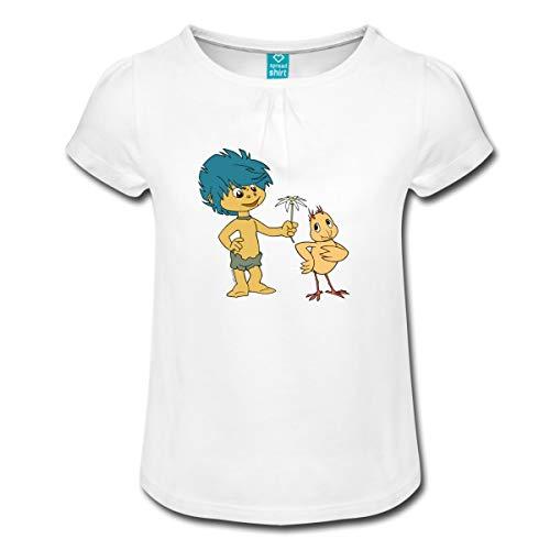Küken Mädchen T-shirt (Spreadshirt Sandmännchen Plumps Mit Küken Mädchen T-Shirt mit Raffungen, 4 Jahre, Weiß)