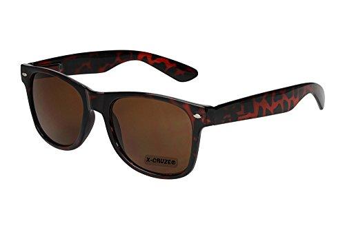X-CRUZE® 8-050 - Gafas de sol nerd retro vintage unisex hombre mujer gafas nerd - marrón oscuro con diseño de tortuga (Tortoise)