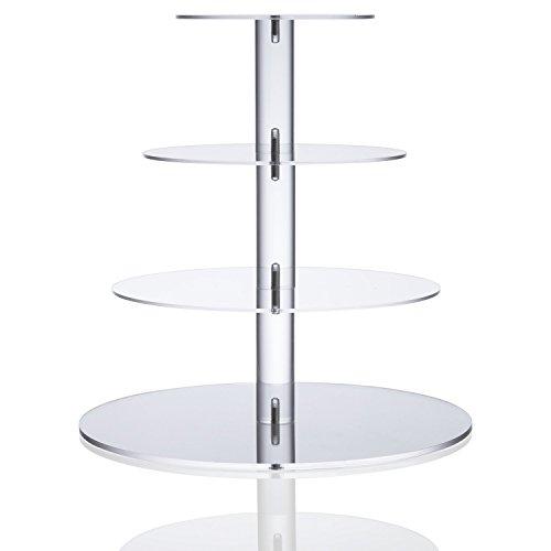 Hochzeit Tortenstaender 4-stoeckig Kristall Turm A-Grade Acryl klar Runde Kuchen Dessert Portion