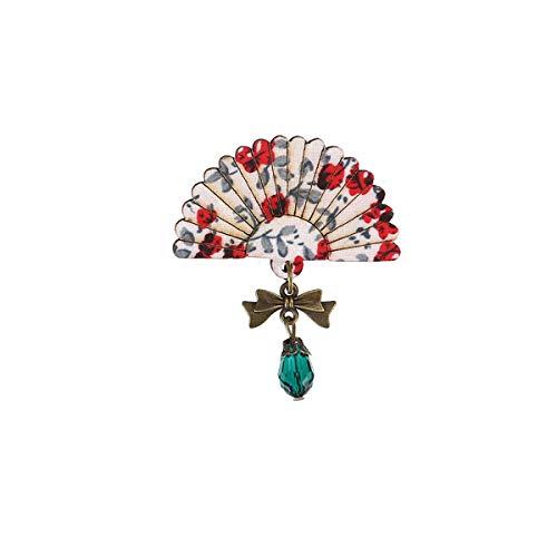 Winwinfly Frauen Vintage Fan Form Brosche Pins Bogen Perlen Blumenmuster Antike Bronze Anhänger ()
