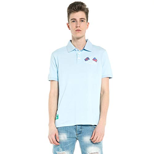 Herren Poloshirt Kurzarm Top aus Reiner Baumwolle Pique Knit Polo Shirts Atmungsaktiv Grün (S, Hellblau) -