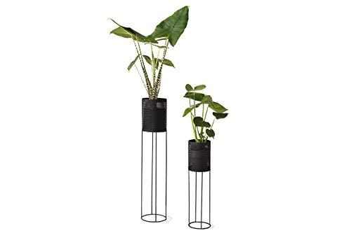 LIFA LIVING Pflanzenständer Set aus schwarzem Metall, 2 Moderne Dekorative Blumentopfständer für den Innenbereich, Wohnzimmer, Schlafzimmer, Flur, bis zu 1,5 kg
