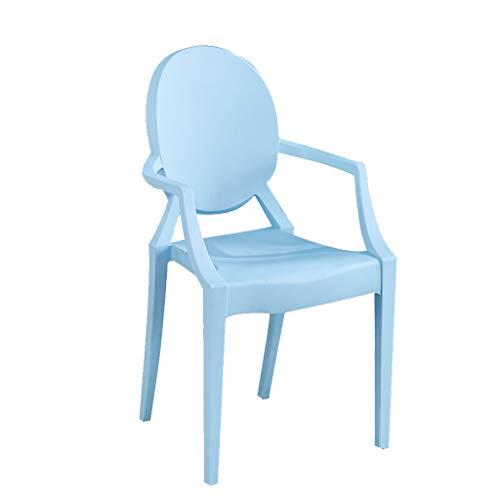 LXQGR Plastikgartenstühle Sitz aus hochwertigem PP und PU, Ergonomische Rückenlehne, Der Stuhl mit Einer Tragfähigkeit von max. 100 kg (Color : Blue)