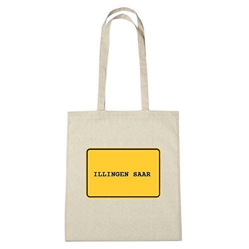 JOllify Illingen Saar di cotone felpato B1744 schwarz: New York, London, Paris, Tokyo natur: Ortsschild