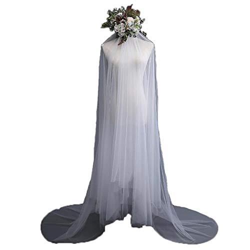 Zcm velo da sposa, semplice semplice filato singolo strato lungo tratto allargato grande coda di trascinamento accessori abito da sposa filati