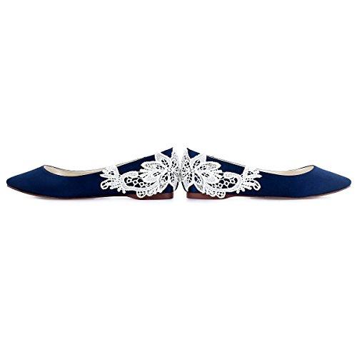 ElegantPark FC1607 Femme Bout Pointu Flower Appliques Satin Chaussures de Mariage Mari¨¦e Plat Bleu Marine