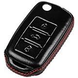Volkswagen Seat Skoda Llave Cover Key Carcasa Mando a distancia piel negro L06