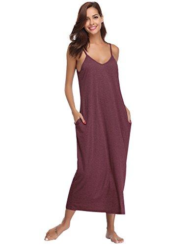 Haijiate donna vestito estivo lungo abito, sottoveste donna con 2 tasca,camicia da notte pigiama di cotone, scollo a v senza maniche sexy casual elegante s-xxl