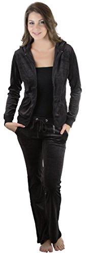 ToBeInStyle Damen Velours-Trainingsanzug mit Reißverschluss, Kapuzenjacke und passender Hose -...