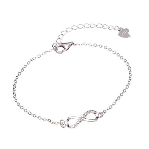 Mia Milano Infinity Armkettchen in 925 Echtsilber, Größenverstellbares Unendlichkeits - Armkette in Sterling Silber inkl. Edler Geschenkbox (Silber 925)
