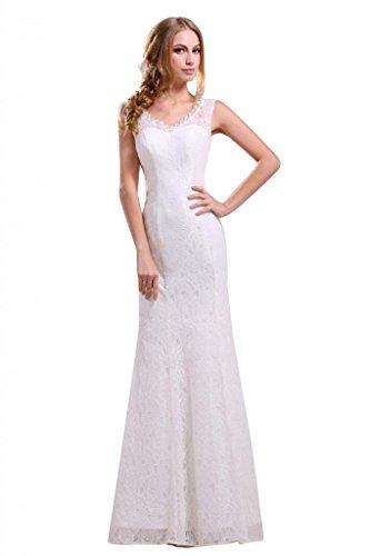 Ikerenwedding cinghie da donna con scollo a V, con fondina, per abiti da matrimonio, a colonna bianco 46