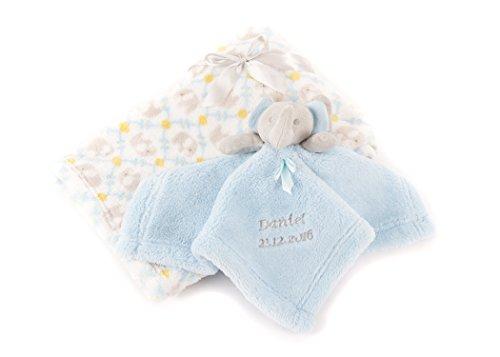 Personalisierbarer Babytröster blauer Elefant + Decke Geschenk-Set Baby Boy