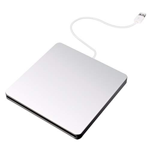Externes DVD Laufwerk, BESTRUNNER USB 2.0 DVD-RW CD / DVD Brenner / Burner Drive tragbares Ultra Slim External Disc für Windows 2000/XP/Vista/7/8/8.1/10, Mac OS, Apple Macbook / Laptops / Desktop (Silver)