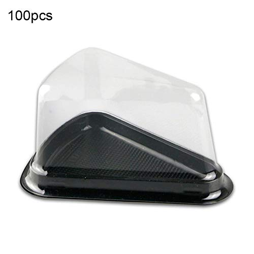 Caja de pastel de plástico transparente Caja de embalaje de pastel triangular Contenedores de pastel de queso Caja desechable de pastel de mousse Soportes de contenedores de plástico sin BPA 100PCS