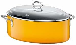 Silit 3936173312 Cocotte ovale avec couvercle en verre 7,9 L 36,5 x 25,5 x 20 cm Crazy Yellow