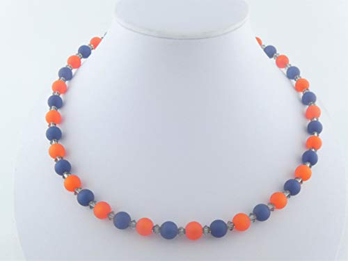 Kette Orange-Dunkelblau Polaris 8mm Swarovski Kristalle -