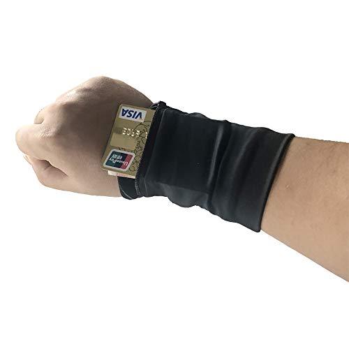 Kapazität Karte (Handgelenk Tasche Handytasche Spandex Lycra Arm Tasche Elastische Handtasche Karte Paket Code Zwei Farbe Optional,Black)
