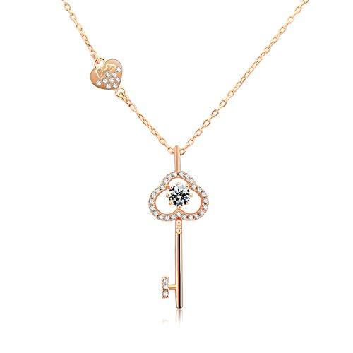 Barbie Collar S925 plata en Forma llave para Mujer Colgante con cristal brillante para Chica BSXL082