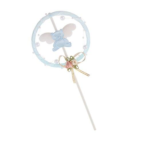 Sharplace Perles Ours Gâteaux Picks Guirlande de Fleurs avec Nœuds Papillon de Ruban pour Anniversaire Enfants Bébé - Rose/Bleu à Choisir - Bleu