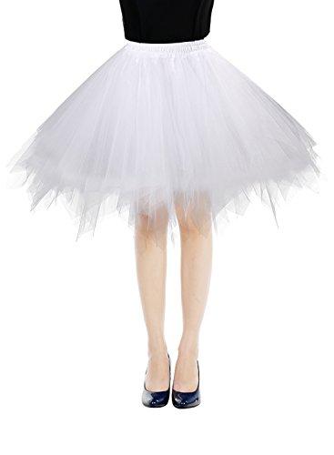 Bbonlinedress Kurz Retro Petticoat Rock Ballett Blase 50er Tutu Unterrock White M