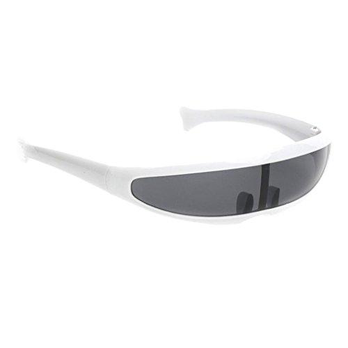 MagiDeal Futuristische Schmale Cyclops Farbe Verspiegelte Linse Visor Sonnenbrille - Weiß Schwarz