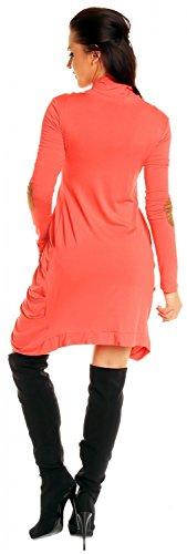 Zeta Ville - Cardigan cocoon lungo Giacca di maglina con drappeggi - donna 286z Corallo