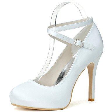 Wuyulunbi@ Scarpe donna raso Primavera Estate della pompa base scarpe matrimonio Stiletto Heel Round Toe fibbia per la festa di nozze & Sera Champagne Bianco