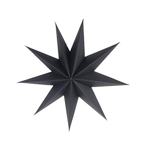 SUNBEAUTY 30cm Papier Stern Schwarz 3er Set Faltsterne Dekoration Neuneck Weihnachtsstern Deko