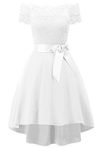 Promgirl House Damen Kleid Abendkleid Schulterfreies Spitze Guertel Cocktailkleid Spitzenkleid...