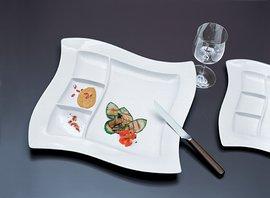 Villeroy & Boch NewWave Grillteller klein/Porzellanteller in Weiß mit formschönen Unterteilungen/1 x (27 x 27cm)