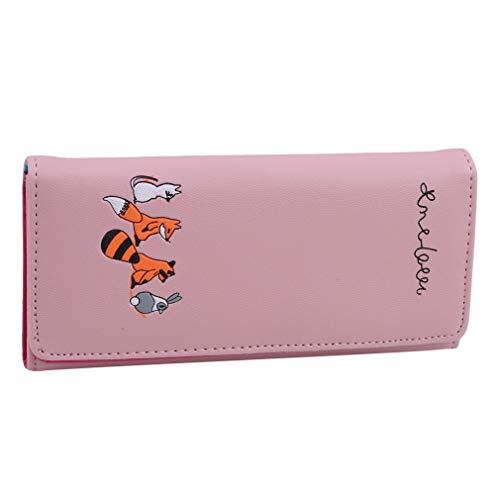 LIXIAQ1 Niedlichen Tier Brieftasche Fuchs Kaninchen Muster Reißverschluss Knopf Design lässig Lange Brieftasche Kartenhalter Handtasche, rosa - Zurück Zip Kupplung