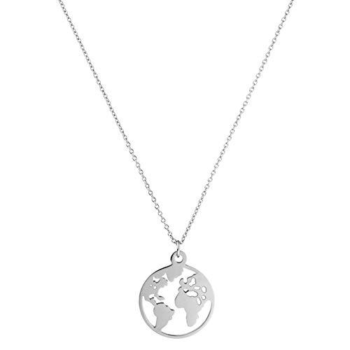 Oce180anYLV Hohle Runde Weltkarte Anhänger Halskette Mode Frauen Schmuck Geburtstagsgeschenk