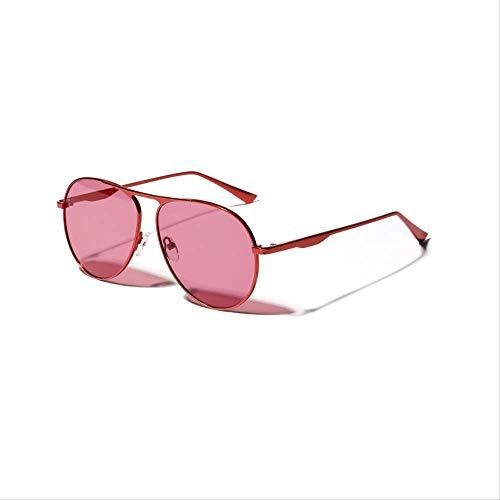 YKDDGG Damen Sonnenbrille Metall Red Mirror Sonnenbrillen Frauen Vintage Big Face Big Frame Brillen Sonnenbrillen sind aus High-End-Materialien für Haltbarkeit3 hergestellt