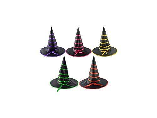DOOUYTERT Künstliche Blumen Satin Wizard Hut Hexen Spitz Hut für Halloween Ostern Weihnachten Kostüm Zubehör (zufällige Farbe) - Satin Hexe Kostüm
