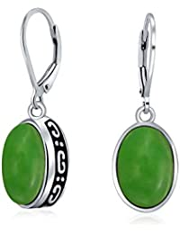 f9c3ed2aa75d 3.2 estilo Bali CTW verde jade teñido Gemstone Bisel Oval Set Leverback  cuelgan aretes de plata