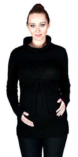 Zeta Ville - Maternité Pull Tunique de grossesse - encolure roulé - femme - 358c Noir